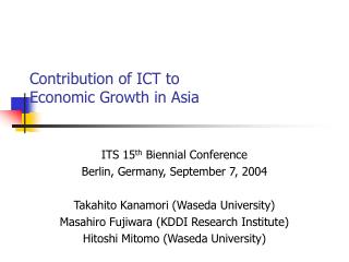 Contribution of ICT to  Economic Growth in Asia