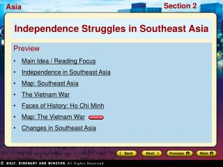 Preview Main Idea / Reading Focus Independence in Southeast Asia Map: Southeast Asia