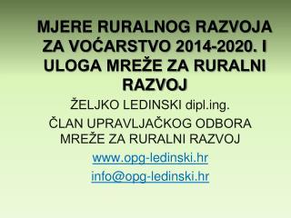 MJERE RURALNOG RAZVOJA ZA VOĆARSTVO 2014-2020. I ULOGA MREŽE ZA RURALNI RAZVOJ