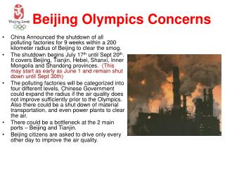 Beijing Olympics Concerns