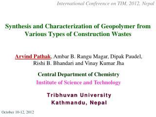 Tribhuvan  University  Kathmandu, Nepal