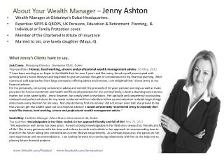 About Your Wealth Manager –  Jenny Ashton