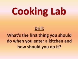 Cooking Lab