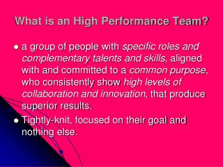 What is an High Performance Team?