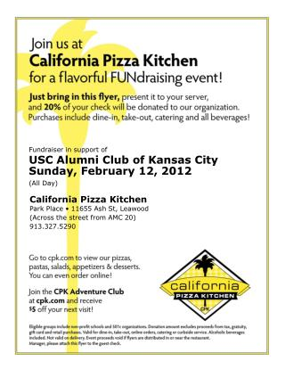 Fundraiser in support of USC Alumni Club of Kansas City Sunday, February 12, 2012 (All Day)