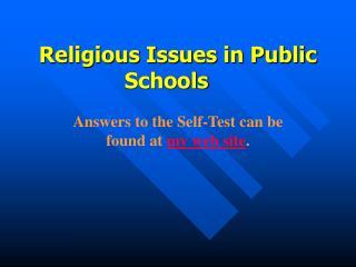 Religious Issues in Public Schools