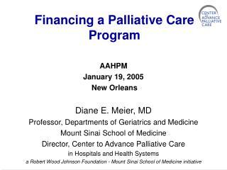 Financing a Palliative Care Program