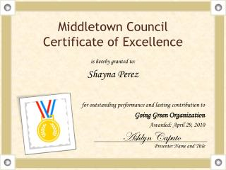 Middletown Council Certificate of  Excellence