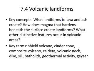 7.4 Volcanic landforms
