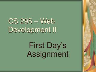 CS 295 – Web Development II
