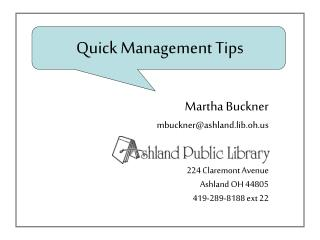 Quick Management Tips