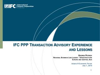 IFC PPP Transaction Advisory Experience and Lessons