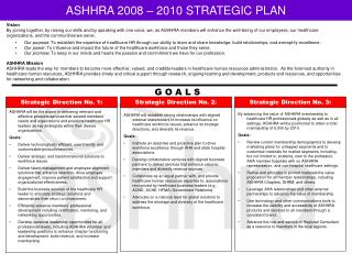 ASHHRA 2008 – 2010 STRATEGIC PLAN