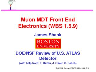 Muon MDT Front End Electronics (WBS 1.5.9)