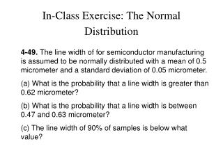 In-Class Exercise: The Normal Distribution