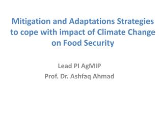 Mitigation and  Adaptations Strategies  to cope with impact of  Climate Change on Food Security