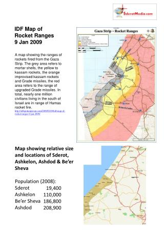 Map showing relative size and locations of Sderot, Ashkelon, Ashdod & Be'er Sheva