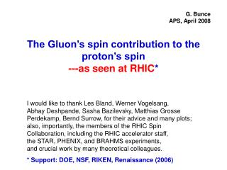 The Gluon's spin contribution to the proton's spin ---as seen at RHIC *