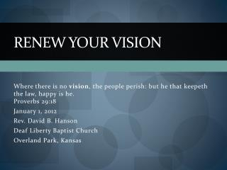 Renew your vision