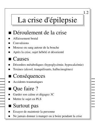 La crise d'�pilepsie