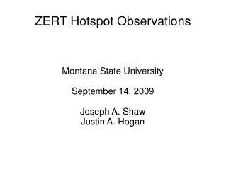 ZERT Hotspot Observations