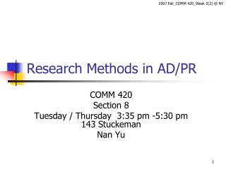 Research Methods in AD/PR