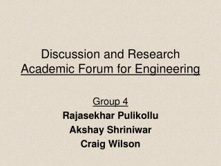 Discussion and Research  Academic Forum for Engineering