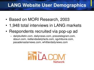 LANG Website User Demographics