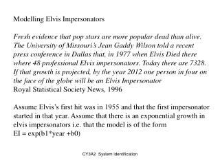 Modelling Elvis Impersonators