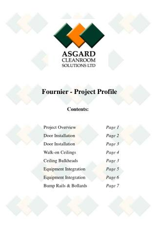 Contents: 	Project Overview	   	 Page 1 		Door Installation		 Page 2 		Door Installation		 Page 3