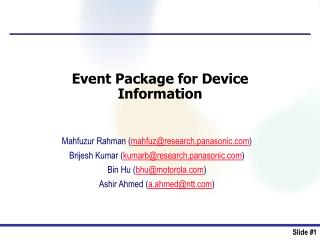 Event Package for Device  Information