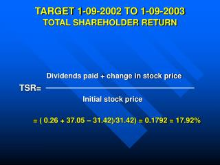 TARGET 1-09-2002 TO 1-09-2003 TOTAL SHAREHOLDER RETURN