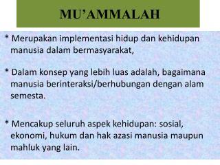 MU'AMMALAH