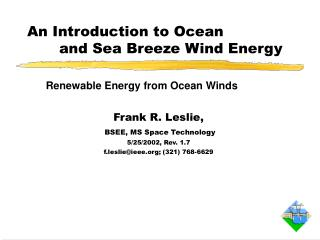 An Introduction to Ocean 		and Sea Breeze Wind Energy