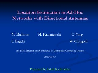 Location Estimation in Ad-Hoc Networks with Directional Antennas