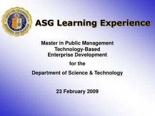 ASG Learning Experience