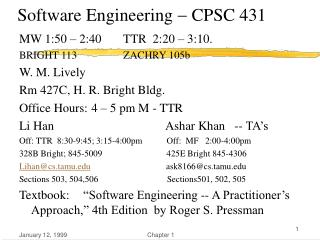 Software Engineering    CPSC 431