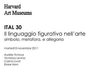 ITAL 30 Il linguaggio figurativo nell'arte simbolo, metafora, e allegoria martedì 8 novembre 2011