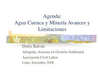 Agenda:  Agua Cuenca y Minería Avances y Limitaciones