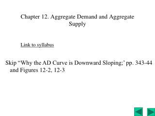 Chapter 12. Aggregate Demand and Aggregate Supply