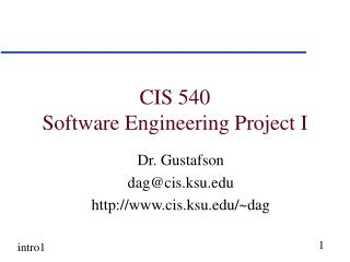 CIS 540 Software Engineering Project I