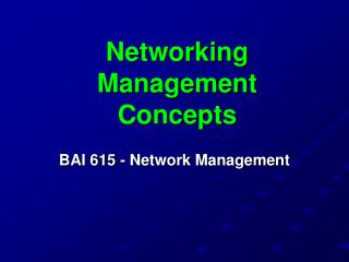 Networking Management Concepts