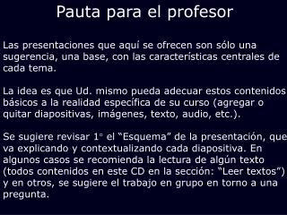 Pauta para el profesor