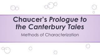 Chaucer�s  Prologue to the Canterbury Tales