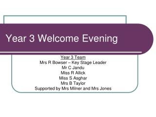 Year 3 Welcome Evening
