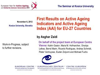 First Results on Active Ageing Indicators and Active Ageing Index (AAI) for EU-27 Countries