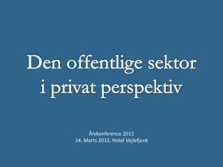 Den offentlige sektor i  privat  perspektiv