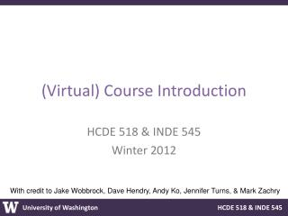 (Virtual) Course  Introduction