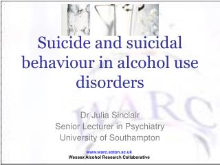 Suicide and suicidal behaviour in alcohol use disorders