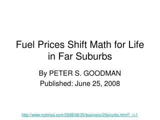 Fuel Prices Shift Math for Life in Far Suburbs